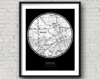 Detroit Wall Decor Detroit Engagement Gifts for Her Christmas Gifts for Mom - Photographed Road Atlas Artwork with a Unique Design