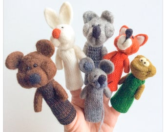 Wool finger puppets-animals, fairy tail The house/puppet-animals in knit and felted wool