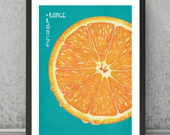 Orange print, Orange poster, Orange art, Orange, Orange wall decor, Orange wall art, Orange wall decor, Orange retro print, kitchen print