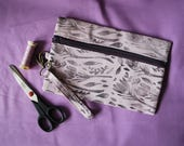 Spring Crocus Floral Block Printed Wristlet // Hand Dyed Fabric // Lavender & Purple