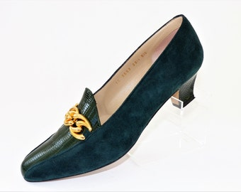 Jaques Vert Bottle Green Suede and Leather Court Shoes Pumps with Gold Chain/Size UK 5.5/Retro Shoes/1990s