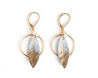 Ethnic hoop earrings, leather earrings, bohemian hoop earrings, feather earrings, wild west jewelry, golden hoop earrings, bohemian feathers