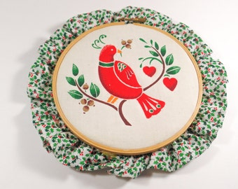 Vintage Christmas partridge in a pear tree embroidery hoop,hand sewn Christmas embroidery wall art, vintage Christmas decor art wall hanging