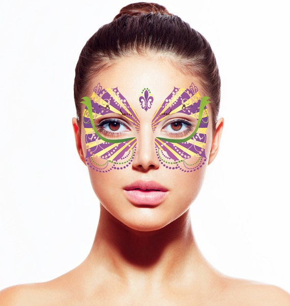 Her mardi gras temporary tattoo face mask for Face mask tattoo