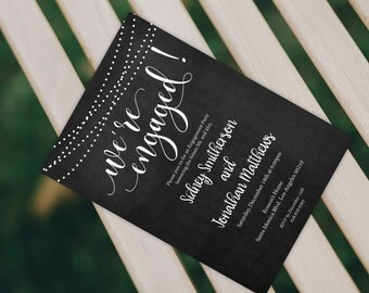 Engagement Invitation - Wedding Printable - Chalkboard Engaged  - Engagement Dinner - Wedding Template -  Downloadable Wedding #WDH0200