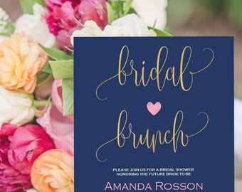 Bridal Brunch Navy Blue Blush Pink Invitation - Wedding Printable Template - Navy Blue and Blush Pink Heart Downloadable Wedding #WDH875709