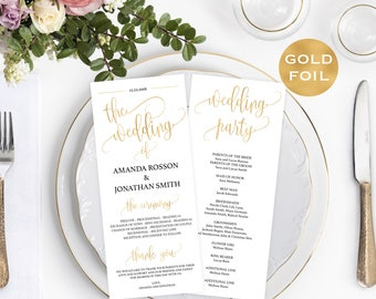 Gold Wedding Program - Wedding Program Printable - PDF Wedding Program Templates - Wedding Printable - Downloadable Wedding #WDH812230