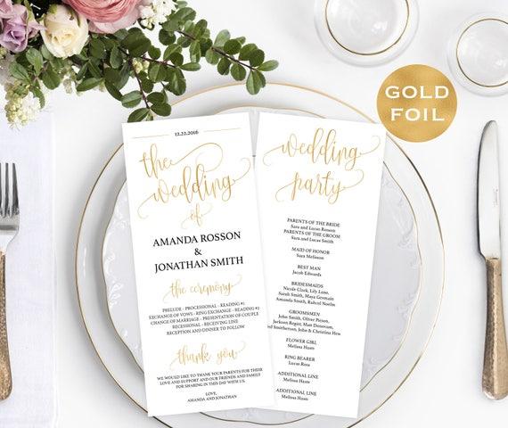Gold Wedding Program Instant Download