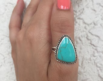 Turquoise Ring-Statement Ring-Turquoise Silver Ring-Sterling Silver Ring -Boho Ring-Turquoise -Bali Ring-Large Turquoise ring -index ring