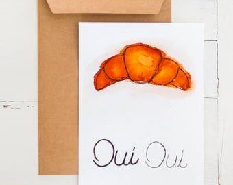 Watercolor postcard Croissant Oui Oui