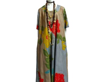 Vintage dress Tunic Kaftano Kaftan flowers S M L Olga De Luise Handpainted robe elegant maxidress prom formal grey red yellow maxi gown 80s