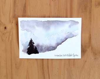 Small watercolor two trees mountains