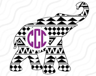 Aztec Elephant SVG, Elephant, Elephant SVG,  Monogram SVG Cut table Design,svg,dxf,png Use With Silhouette Studio & Cricut_Instant Download