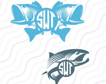Fish SVG, Fishing SVG, Bass svg, Fish Monogram SVG Cut table Design,svg,dxf,png Use With Silhouette Studio & Cricut_Instant Download