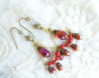 Red vintage inspired chandelier earrings