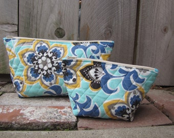 Teal Floral Zippered Cosmetic Bag Set, Travel Bag, Cosmetic Organizer,