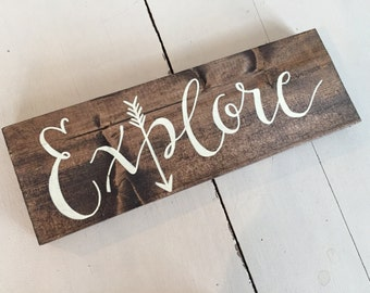 EXPLORE wood plaque, EXPLORE wood sign, EXPLORE nursery sign, Explore, travel theme nursery, nursery sign, explorer nursery theme