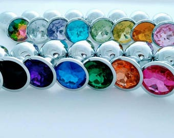 Small Stainless red, orange, yellow, green, blue, purple, black, pink, clear butt plug/ Mature