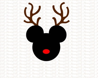 Mickey Mouse Reindeer, Christmas SVG, Cut Files, Cricut, PNG, Silhouette SVG