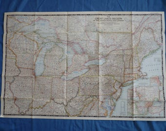 Vintage National Geographic Maps USA. Ideal for framing