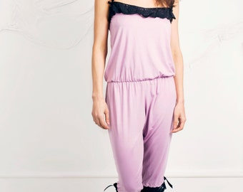 Pink /Dusty Pink Jumpsuit Jersey cotton nightwear trimmed with black lace sizes 8-10 UK