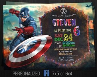 Captain America Invitation, Captain America Birthday Party, Avengers, Superhero, Superheroes, Personalized, Printable, Digital File