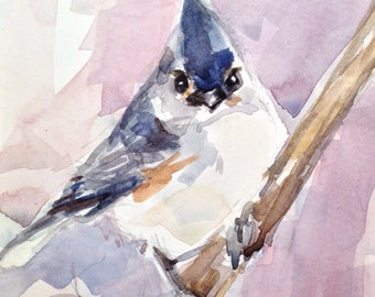 4 x 6 inch Grey Titmouse Watercolor Painting, Under 50 dollars, Original Grey Titmouse Painting, Grey Titmouse No. 113, Watercolor Titmouse,