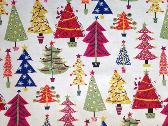 SALE - Colourful Christmas Tree Fabric