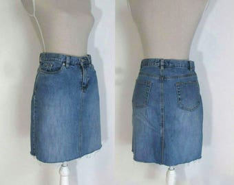 90s Recycled 28 /2 -4 Cropped Skirt , High Waist, Denim Jeans Pencil Skirt