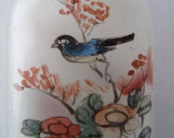 Antique Chinese hand painted scent bottle with birds and flowers