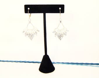 Silver and Crystal flabellum earrings. Swarovski crystals, bugle beads, super duos, and silver lever back ear wires.