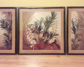 Triptych 'Palm leaves '