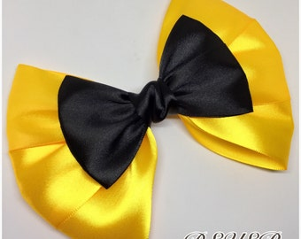 Jumbo Yellow and Black Bow for kids little girls Hair Clip, Shoe Clip, Head band, School, Concert, Festivals, Birthday Parties