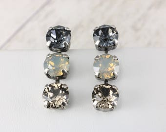 Revolt Swarovski Earrings, Genuine 8mm Swarovski Crystals & Opals, Three Cluster Drop Earrings, Striking Look! FREE SHIPPING
