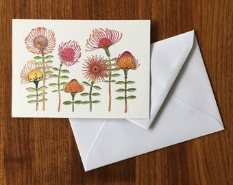 Pincushion flowers-greeting card illustration by Anke van Horne-blank rear-includes envelope