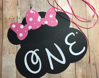 "DIY Minnie Mouse High Chair Banner, Minnie Mouse ""ONE"" Banner,Minnie Mouse Birthday Banner, Smash Cake Banner"
