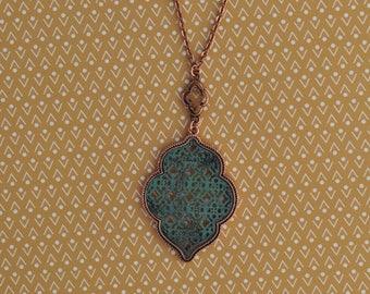 Rose Gold, Patina Quatrefoil Necklace