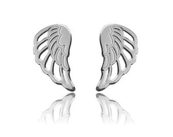 WING earrings - STERLING SILVER,  stud earrings, wings earrings, sterling silver 925 earrings