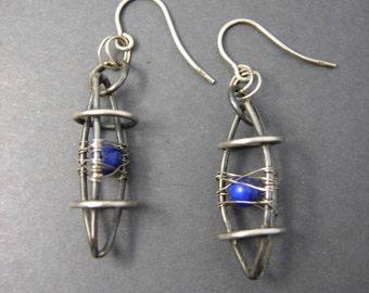 Silver earrings with lapis lazuli, handmade, geschwärztes silver