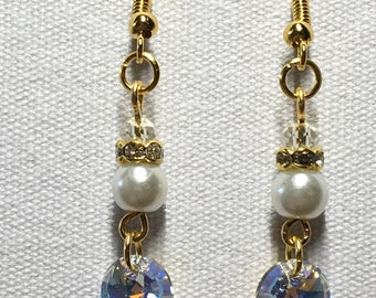 Pearl chandelier earrings with Swarovski crystal charm