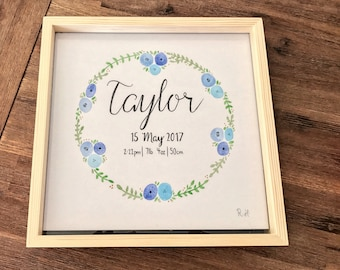FOR BABY   Custom Art   Hand Painted Watercolour Calligraphy   Unique Gift Idea   Floral Wreath   Name, Birth Date & Time, Weight, Length