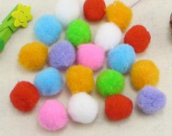 100 pcs/lot 25mm Pompoms DIY Dolls Handmade Material Soft Fluffy Pom Poms