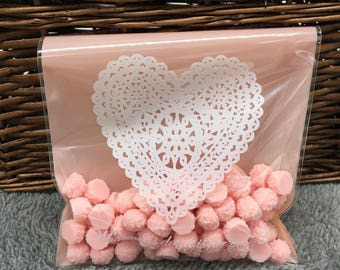 12cm*18cm 20Pcs Pink Lace Heart Cookie Self Adhesive Plastic Packing Bags Biscuit Baked Food Package