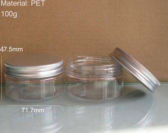 20 pc  x 100g Clear Cream Jar, 100cc PET Jar, Cream Bottle with aluminum lids