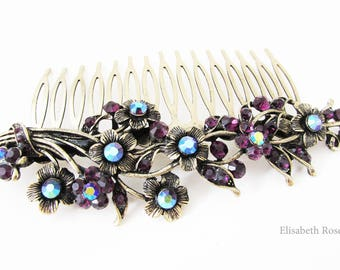Purple Bridal Hair Comb, Purple Hair Comb for Wedding, Large Hair Comb, Large Comb for Wedding Hair, Purple Hair Comb, Purple Comb