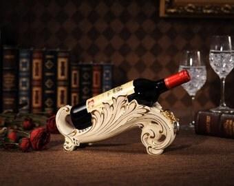 Porcelain Wine Bottle Holder. Ivory Porcelain Wine Display. Gold Trimmed Ceramic Wine Bottle Display.