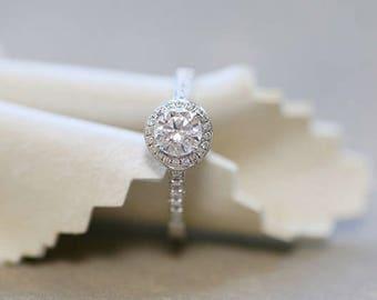 Halo diamond engagement ring in 18k White Gold, Diamond Engagement Ring, Anniversary Ring