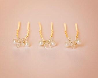 Pearl hair pin, Bridal Hair pin, Golden hair pins, Wedding hair accessories, Pearl bead hair pin, Pearl bobby pins
