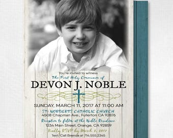 First Holy Communion Invitations, Communion for Boys, Rustic First Communion Invites, Boy First Holy Communion Invites, DI701FC
