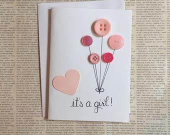 Its a girl, baby girl card, new baby girl card, button art, new baby card, baby shower, baby girl, pregnancy congratulations card, handmade